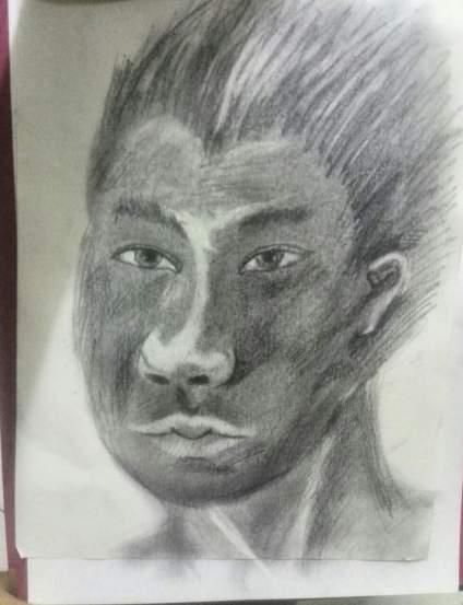 朋友刚画的头像,请问他有没有画头像的天赋?